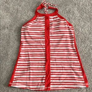 Lululemon red and white striped halter tank size 8